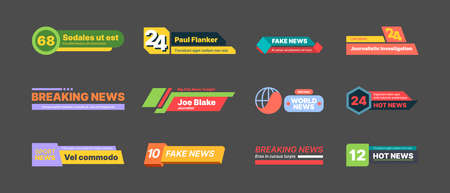 Breaking news banners. Graphic bars with text titles abstract geometrical shapes modern lines for video tv screen garish vector breaking news templates Stock Illustratie