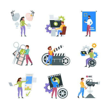 Video production. Filmmaker characters shooting and filming on cameras videography multimedia concept pictures garish vector collection of flat illustrations