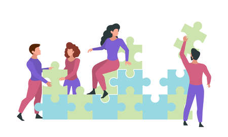 Characters with puzzle. Buisness jigsaw persons holding pieces of puzzles ideas successful goals corporate partners garish vector flat pictures