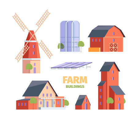Farm houses. Old village constructions medieval rural buildings and agricultural objects garish vector illustrations set in flat style