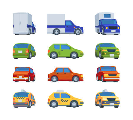 Flat cars. Various views of vehicles body face of transport model position garish vector cars illustrations