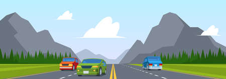 Road trip. Highway traffic with various cars on road lines sunrise and mountains view garish vector cartoon background