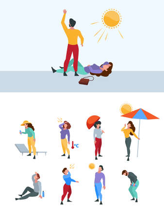Summer warm person. Hot body sweaty tired unhealthy people in sunlight time outdoor characters with high temperature garish vector flat illustrations