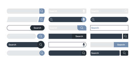 Search bar. Internet browser items ui design templates domain find boxes in modern clean style color search bar garish vector pictures
