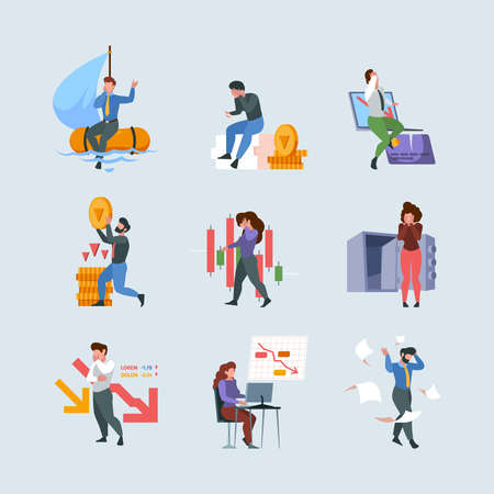 Financial crisis. Business collapse money fail financial problems bankruptcy loss cash garish vector concept illustrations in flat style