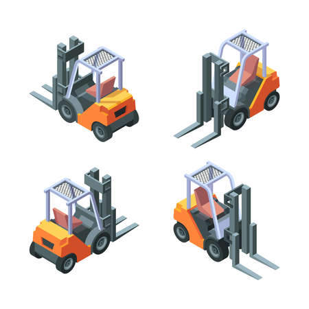 Loader isometric. Manufacturing vehicles trucks with forklift garish vector loading cars illustrations Stock Illustratie