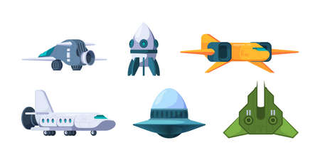 Spaceship. Ufo and rockets space travel universe shuttles garish vector futuristic jet plane illustrations in cartoon style