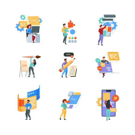Professional programmers. Freelancers outdoor working laptop coding and programing script writing web technologies geek characters garish vector flat pictures Stock Illustratie