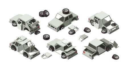 Damaged cars. Abandoned vehicles rusty old broken cars metalic vintage transport garish vector illustrations isometric set