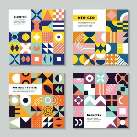 Geometrical forms. Neo geo style abstract geometric colored shapes triangles squares circles recent vector poster design