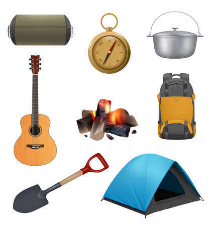 Camping elements. Realistic campfire tent guitar backpack for travellers decent vector set pictures collection adventures symbols