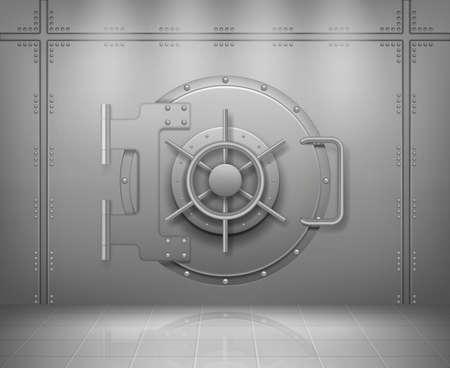 Steel bank doors. Concept of save money and treasures metal or steel protection doors empty storage decent vector realistic background Stock Illustratie