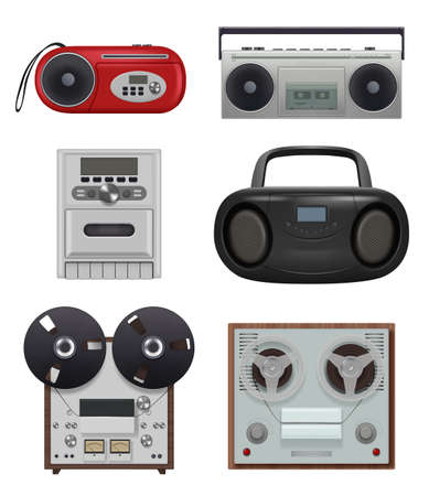 Vintage recorders. 80s music stuff portable audio gadgets reciever with tape reel recorders decent vector illustrations collection isolated