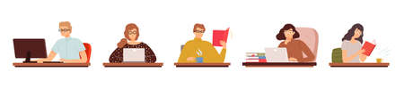 Clever student. People reading, working computer. Men women work in glasses. Office managers, teachers vector characters Stock Illustratie