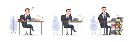 Emotional manager. Tired office managers, man crying and sleep at work, deadline vector concept