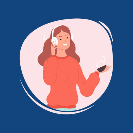 Girl in white headphones listen music. Clubhouse podcast, audiobook library in smartphone vector concept