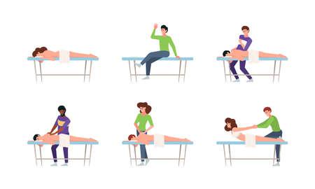 Therapist. Manual healthcare doctor touching patient body relaxing wellness spa massage garish vector therapiest concept flat vector illustrations collections Vektoros illusztráció