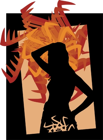 Silhouette of the girl with a symbol on an abstract background