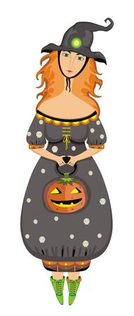 Beautiful witch with a pumpkin Stock Vector - 9635650