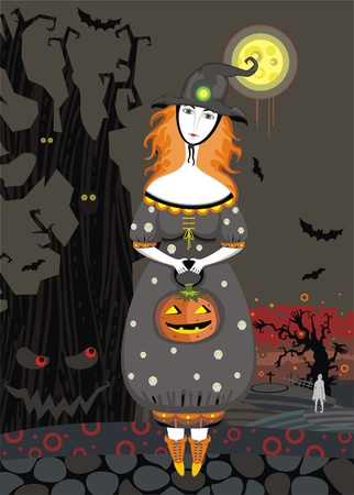 Beautiful young witch with a pumpkin on a cemetery at night Vector