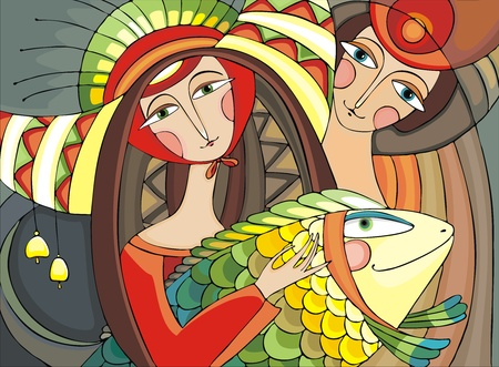 close up face woman: girl holding a large multi-colored fish and the guy standing behind her  Illustration