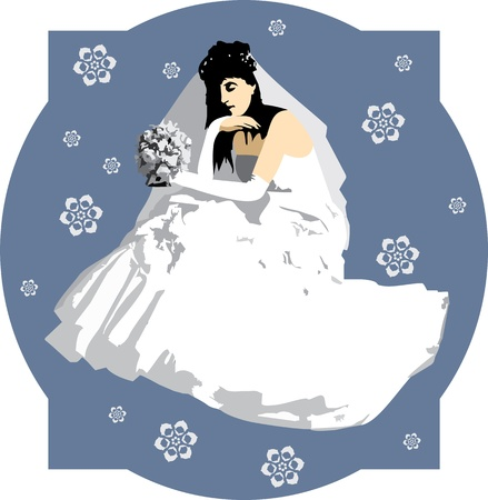bride silhouette: bride with a bouquet of flowers