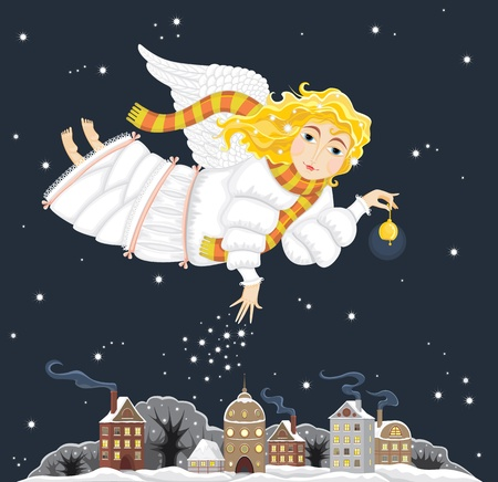 angel tree: The girl an angel with a fair hair in a white dress and a striped scarf with a gold hand bell in hands flies over a night small city. Christmas card.
