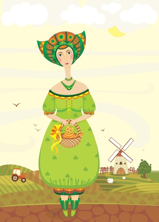clip art youth: girl in a green dress with a cat in a basket against a rural landscape with a tractor, a mill and sheep