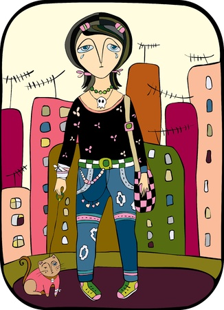 emo girl with on a wounded hand walks on a city with a cat Illustration