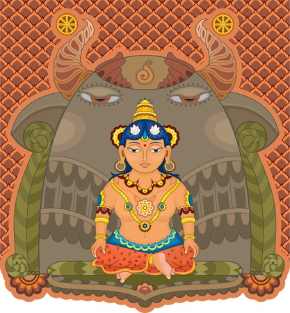 east indian: Indian goddess in gold  jewelry sitting in a lotus pose on an ornamental background