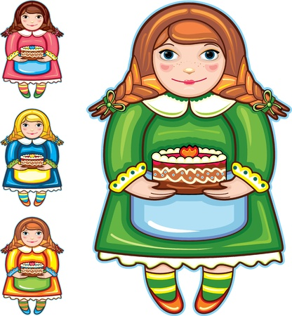 confectioner: Girl with a pie in hands on a white background. Four colour variations Illustration