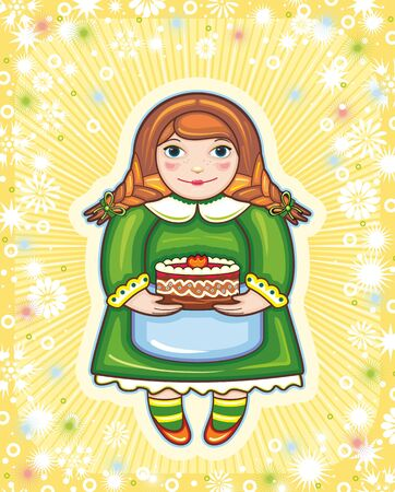 redhead woman: red-haired girl in a green dress with a pie in hands Illustration