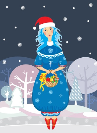 maiden: girl in a suit of a Snow Maiden with a basket full of gifts