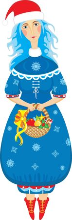 snow maiden: girl in a suit of a Snow Maiden with a basket full of gifts on a white background
