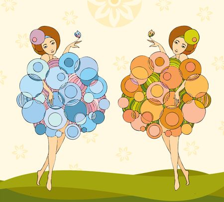 harmonous girls in a dress made of bubbles with the butterfly on a hand Illustration