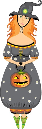 Beautiful witch with a pumpkin on a white background Vector
