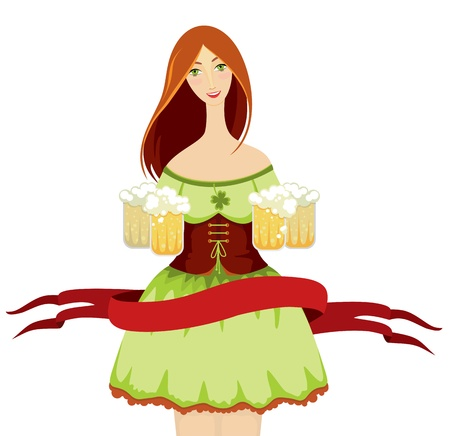 red haired girl: girl in a green dress with beer glasses in hands on a white background