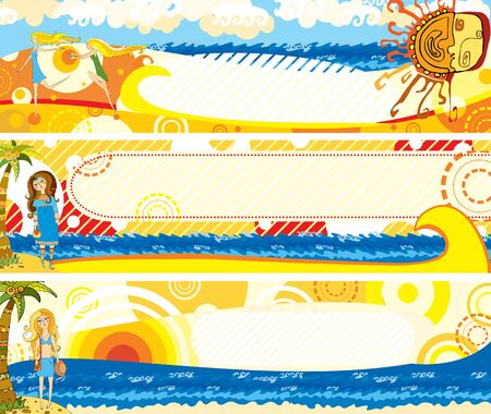 Set summer bright banners with girls on the sea Vector
