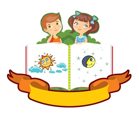 boy and the girl on the big book Vector
