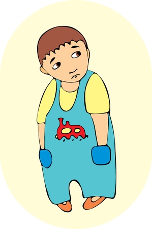 little offended boy in blue overalls