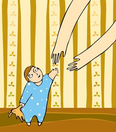 madre soltera: Las manos de mamá y el niño
