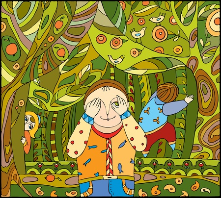 Childrens play in wood Illustration