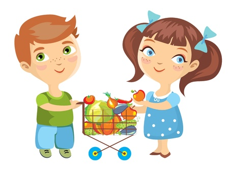 product cart: boy and the girl make purchasing of vegetables.