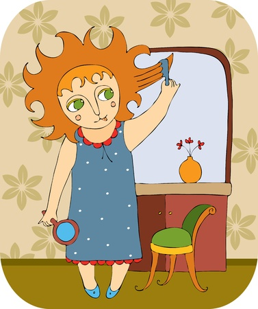 little girl brushes the hair in the morning Vector
