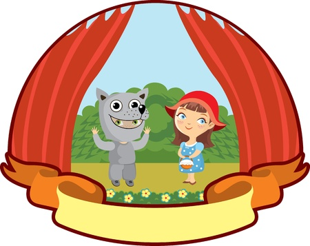 Theatrical representation, Little Red Riding Hood and gray wolf Vector
