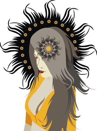 Portrait of the beautiful girl with grey hair and a black nimbus Stock Vector - 11964146