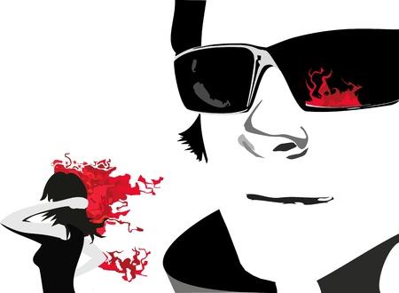 teen girl face: cara del hombre en el que los puntos gafas se refleja una llama y la ni�a con el pelo ardiendo en un fondo