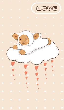 Little lamb flying on a love cloud Vector