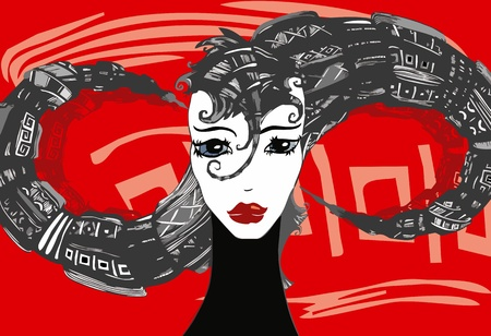Portrait of the beautiful girl with a strange hairdress in the form of an infinity symbol on an abstract background Vector