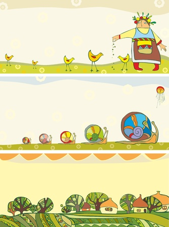 horizontal: Set spring horizontal banners with the girl, chickens, a snail and houses Illustration
